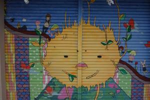 Wandkunst im Jojusha Schrein